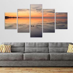Balatoni naplemente ötrészes vászonkép