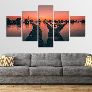Bokodi-tó ötrészes vászonkép